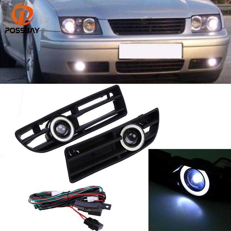 POSSBAY Auto Winkel Eye Nebel Lichter Weiß LED Tagfahrlicht für VW Bora MK4/A4 Typ 1J 1999 -2004 nebelscheinwerfer Haube Mit Objektiv