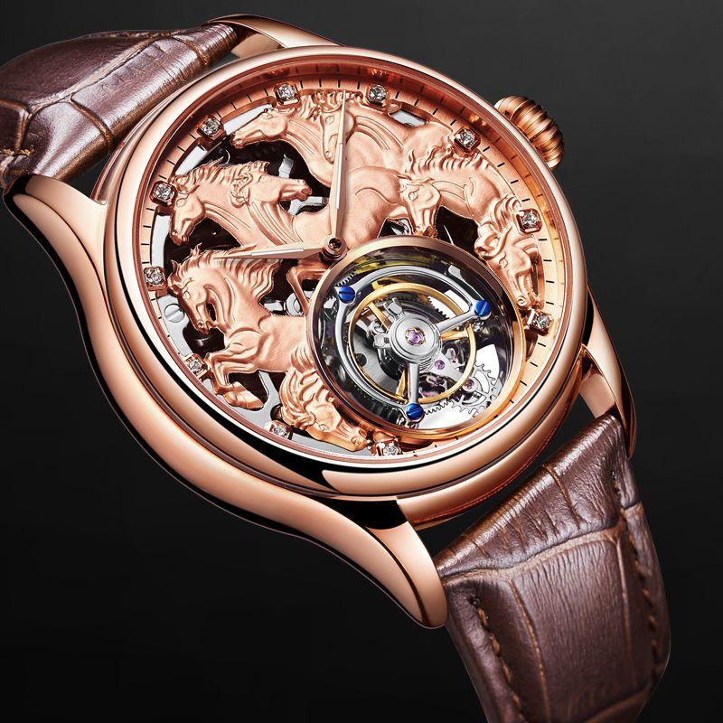 Top Männer Tourbillon Mechanische Uhren 24 karat Gold Vakuum Überzug Kalb Leder Strap Gentleman Mechanische Uhr Unterstützung Individuelles LOGO