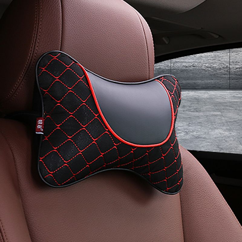 2018 brand new pu leather and fabric car headrest pillow universal comfortable neck pillows fit for most cars quality guarantee