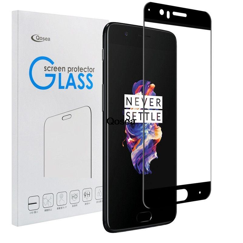 Qosea pour Oneplus 5 verre trempé rond bord incurvé 9 H électroplaqué 3D avant Film complet étui pour Oneplus 5 T protecteur d'écran