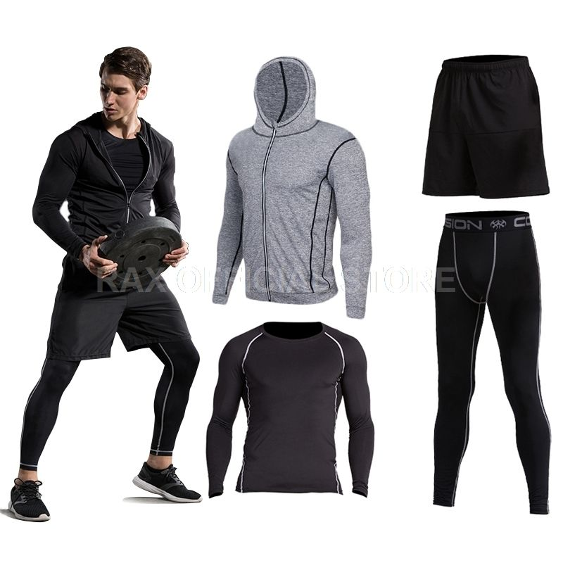 2018 Sport Suit Men's Sport Running Suits Running Compression Homme Gym Hoodie Training Running Tracksuits Men Gym Clothing 6pcs
