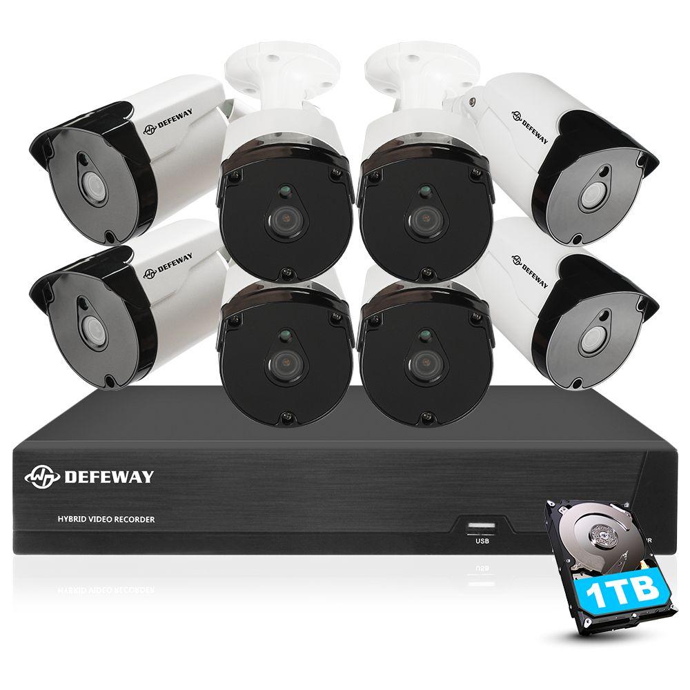 DEFEWAY Video Überwachung 5mp Sicherheit Kamera System H.265 + HD 8CH Video CCTV 8 Kamera im freien Wasserdichte Kamera Kit 1 TB HDD