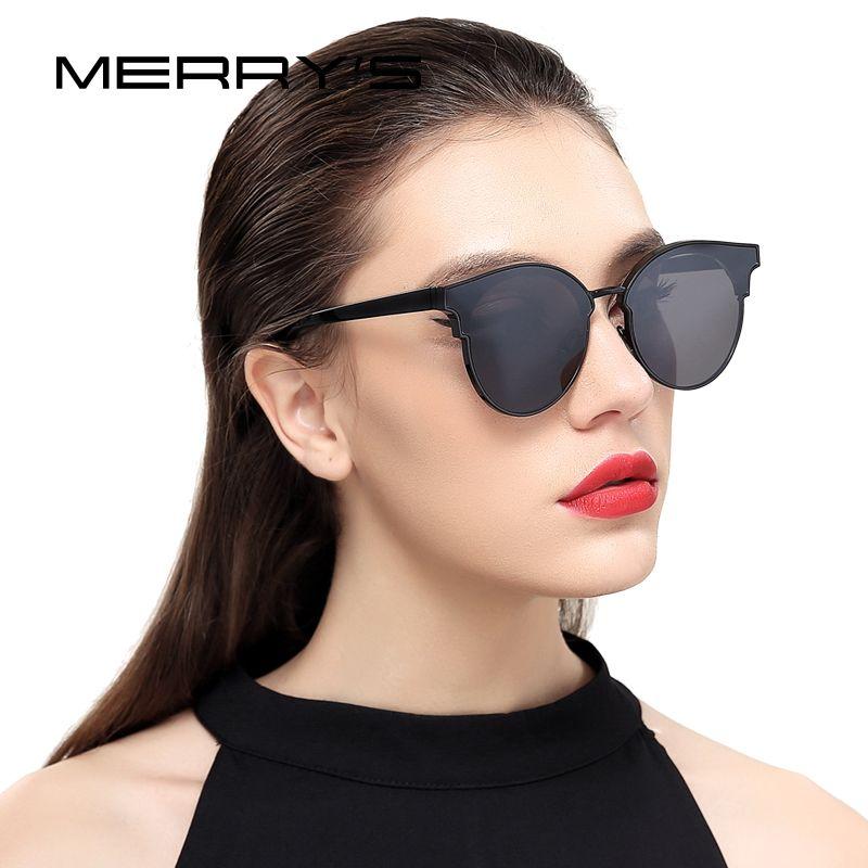 Merry's Для женщин Кошачий глаз Солнцезащитные очки для женщин классический Брендовая Дизайнерская обувь полу без оправы Солнцезащитные очки ...