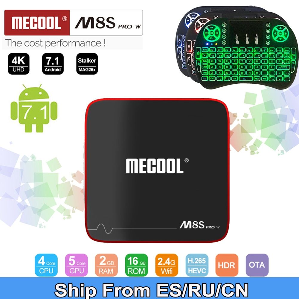 mecool m8s pro w 2G 16G Smart tvbox android 7.1 S905W CPU 2.4GHz WiFi 4K <font><b>H.265</b></font> top tv box support 2500+Spain/Europe IPTV
