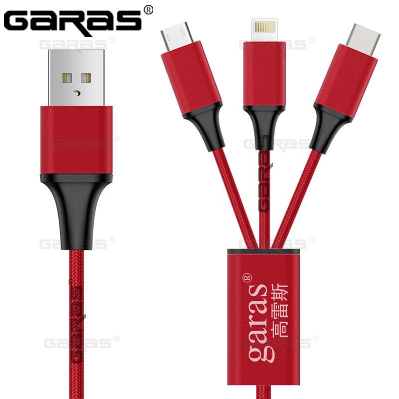 GARAS Mobile Téléphone Câbles Pour Iphone/USB Type C/Micro USB Câble 3IN1 Chargeur Connecteur Rapide De Charge Données Sync USB-C Type-C Fil