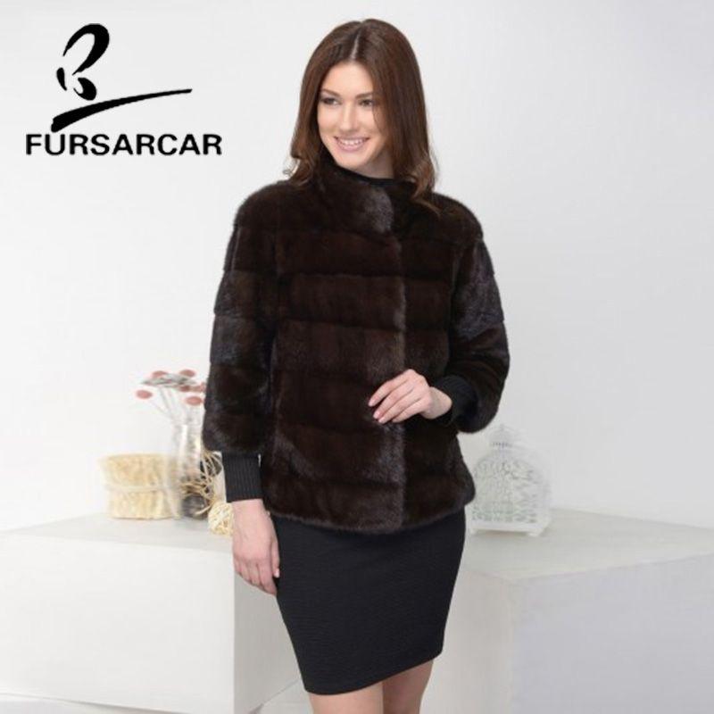 FURSARCAR 100% Real Nerz Mantel Frauen Ganze Haut Mode Schlank Fell Mantel Kurze Winter Nerz Pelz Jacke Mit Mandarin kragen