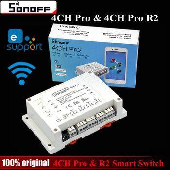 Sonoff 4CH Pro и Pro R2 Smart переключатель Wi-Fi дома 433 мГц RF Wi-Fi выключатель света 4 Gang 3 рабочих режимы толчковой Блокировка с Alexa