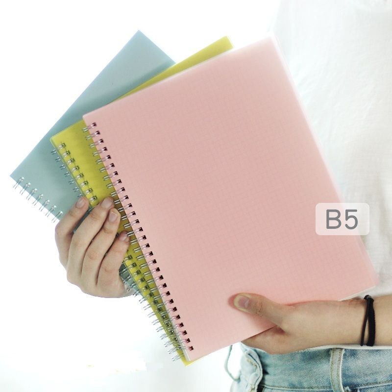 B5 Colored PP Cover <font><b>Grid</b></font>/Blank/Dot/Line Coil Notebook Bandage Planner Agenda Organizer office & School Supplies