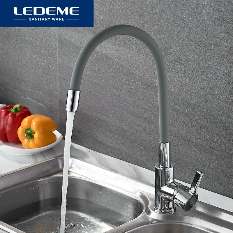 LEDEME Chrome Finish Kitchen Sink Faucet Single Handle Polished Taps Brass Mounted Mixer Water Taps Basin Faucets L4898 9 Color