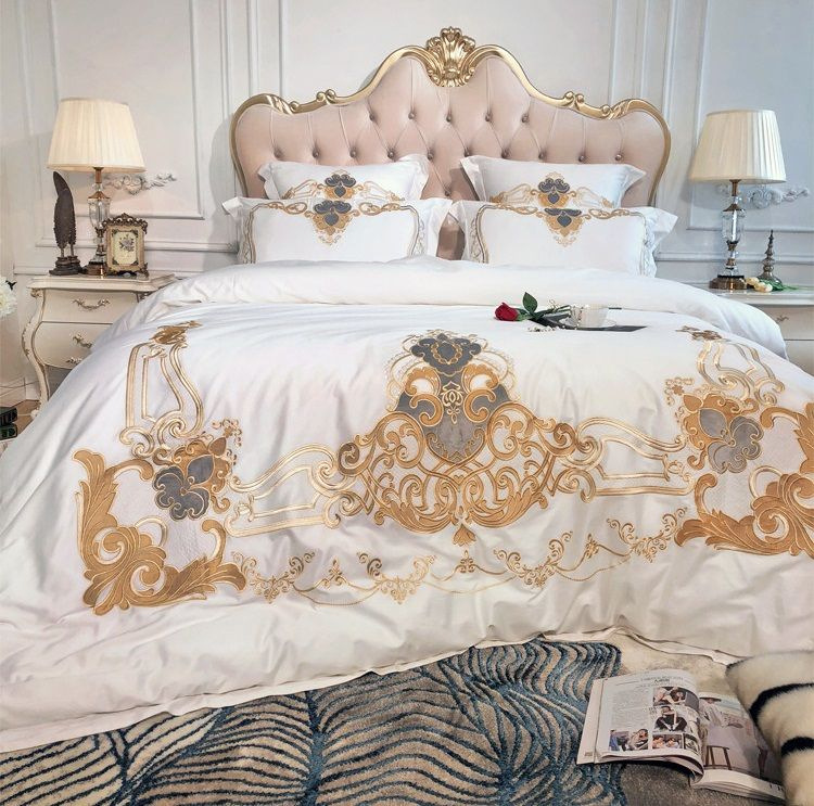 White European Luxury Golden Royal Embroidery Egyptian Cotton Bedding Set Duvet Cover Bed Linen Bed sheet Pillowcases 4/7pcs