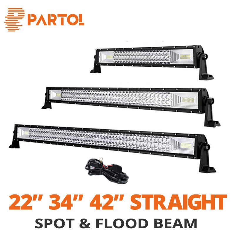 Partol 22 32 34 42 52 inch Straight Car Led Light Bar Offroad 4x4 12V 24V Work Driving Light 324W 486W 594W 702W Combo Beams