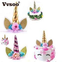 Vvsoo 1 unid unicornio cuernos pastel decoración Topper Halloween fiesta de cumpleaños suministros niños cumpleaños decoración de la torta