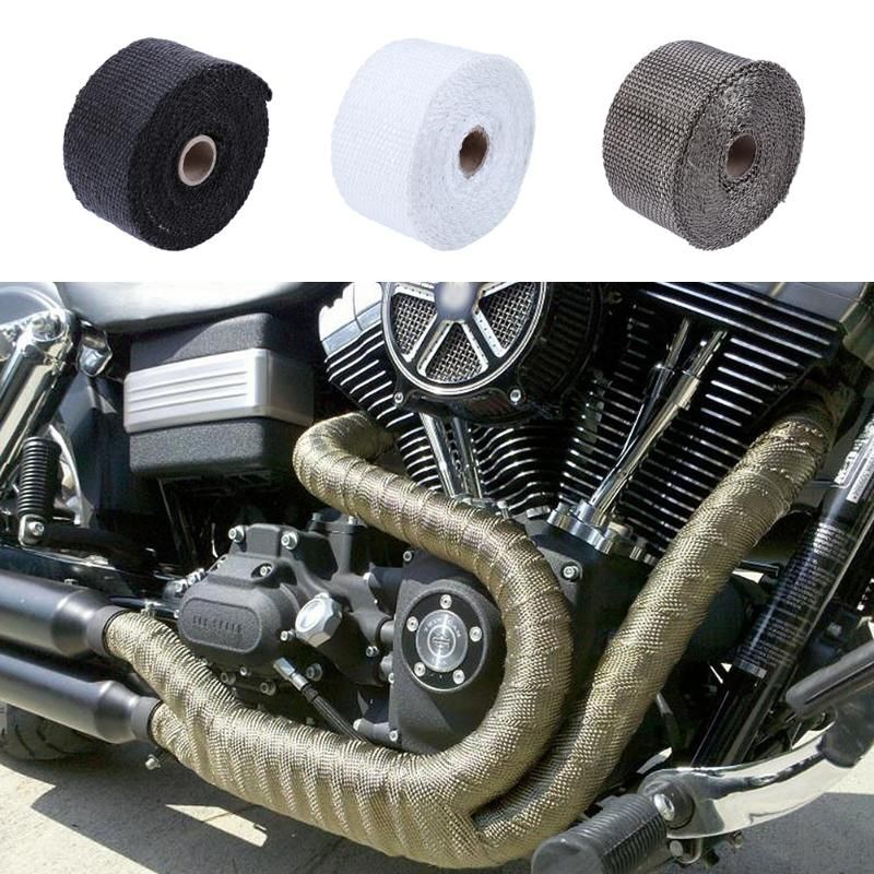 5m/16.4ft Thermal Exhaust Header Pipe Tape Heat Insulating Wrap Tape Fireproof Cloth Roll With Usable Steel Ties Kit 3 Colors