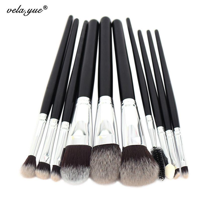 10 pcs Professionnel Maquillage Pinceaux de Haute Qualité Maquillage Outils Kit Premium Pleine Fonction