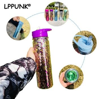 750ML/350ml Double Wall Plastic my water bottle Sequins gold Stardust outdoor travel cup portable handle straw Sports kettle