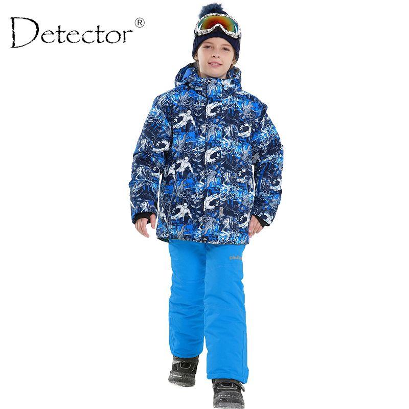 Детектор 2017 Обувь для мальчиков зима Водонепроницаемый ветрозащитный лыжный Наборы для ухода за кожей дети теплые лыжные куртка дети откры...