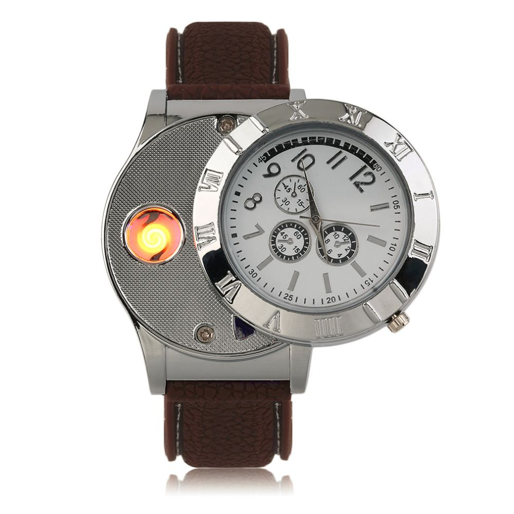2 Colors Creative Professional Electronic Lighter Quartz Watch USB Rechargeable Lighter Watch with LED Indicator Light New Hot
