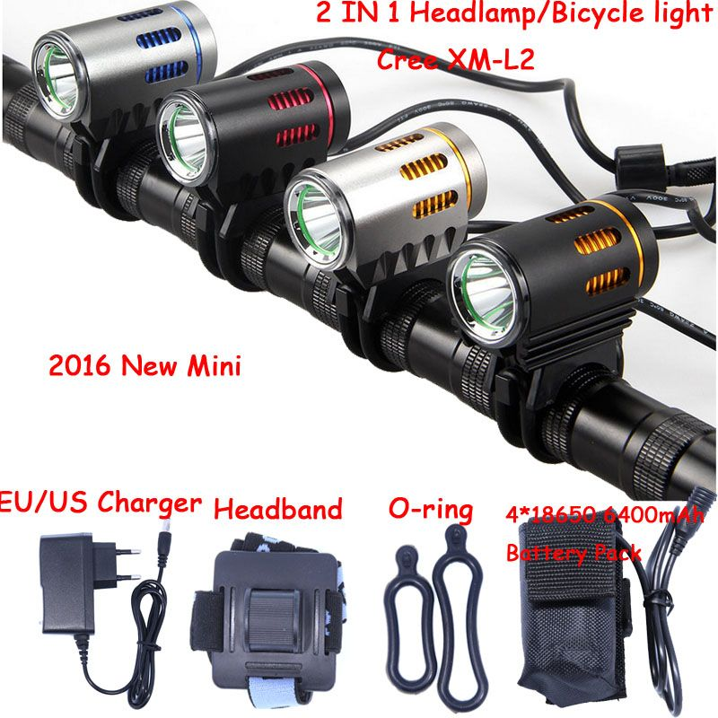 2016 new Mini Bicycle light XM-L2 LED Front Light MINI Bike Lamp 2000Lm Headlamp Headlight + Battery Pack + Charger