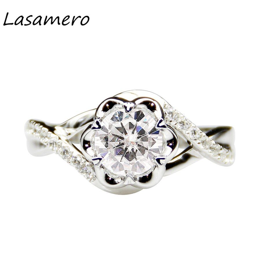 LASAMERO 1.0CT Round Cut Moissanites 14k White Gold Accents Floral Twist Engagement Anniversary Wedding Ring For Women