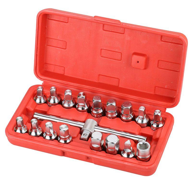 18pcs Oil Drain Pipe Plug Triangle Square Hexagon Socket Drive Sliding T-Bar Removal Kit Screw Set Pan Wrench Bottom Nut Adaptor