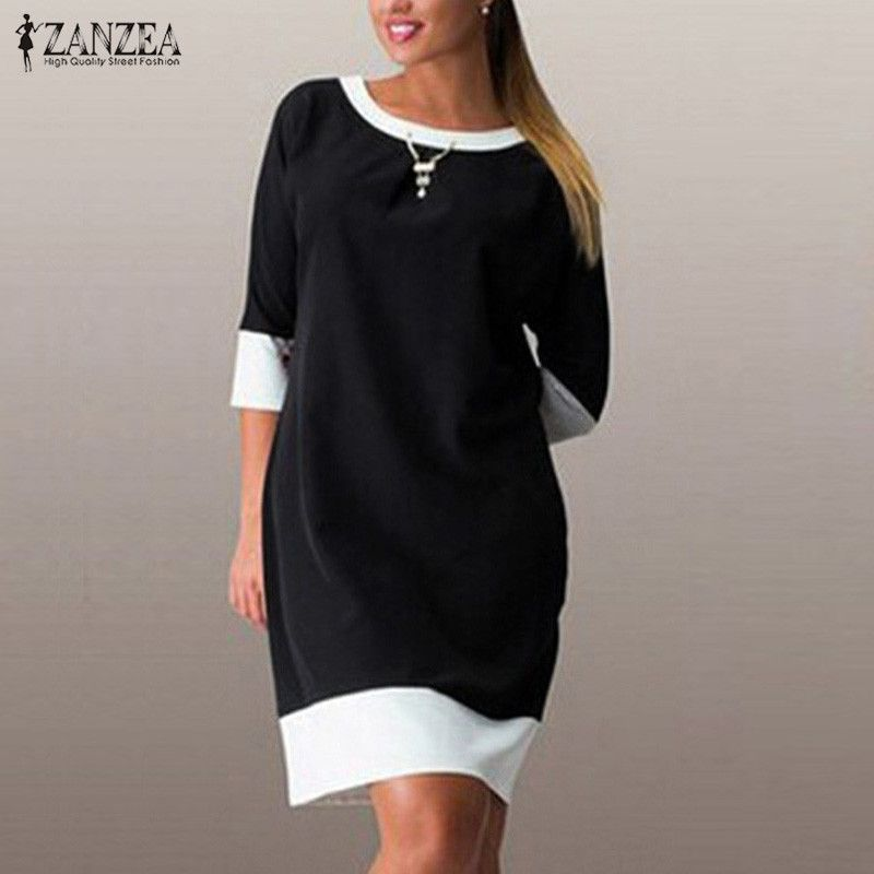 ZANZEA Spring Dress 2018 Women Patchwork 3/4 Sleeve O Neck Vestidos Casual Loose Mini Dresses Large Size 6XL