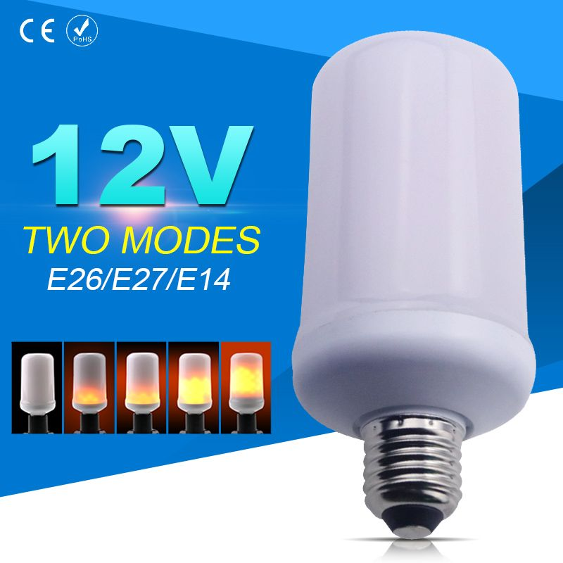 DC12V E26 Low Voltage LED lamp Flame Effect Fire Light Bulbs E27 99leds Creative Lights Flickering Emulation Lamp E14 SMD2835