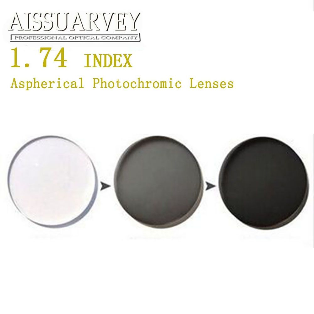 1.74 Index Aspherical Photochromic Lenses Cr-39 Anti-glare Clear Change Gray Grade A Top Quality Super Thin Colored Optical Lens