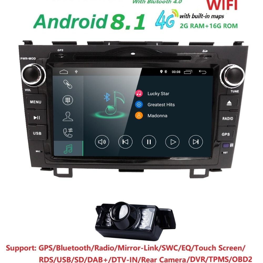 Android 8.1 HD 1024*600 Car DVD Player Radio For Honda CRV 2007 2008 2009 2010 2011 4G WIFI GPS Navigation Head Unit 2 din 2GRAM