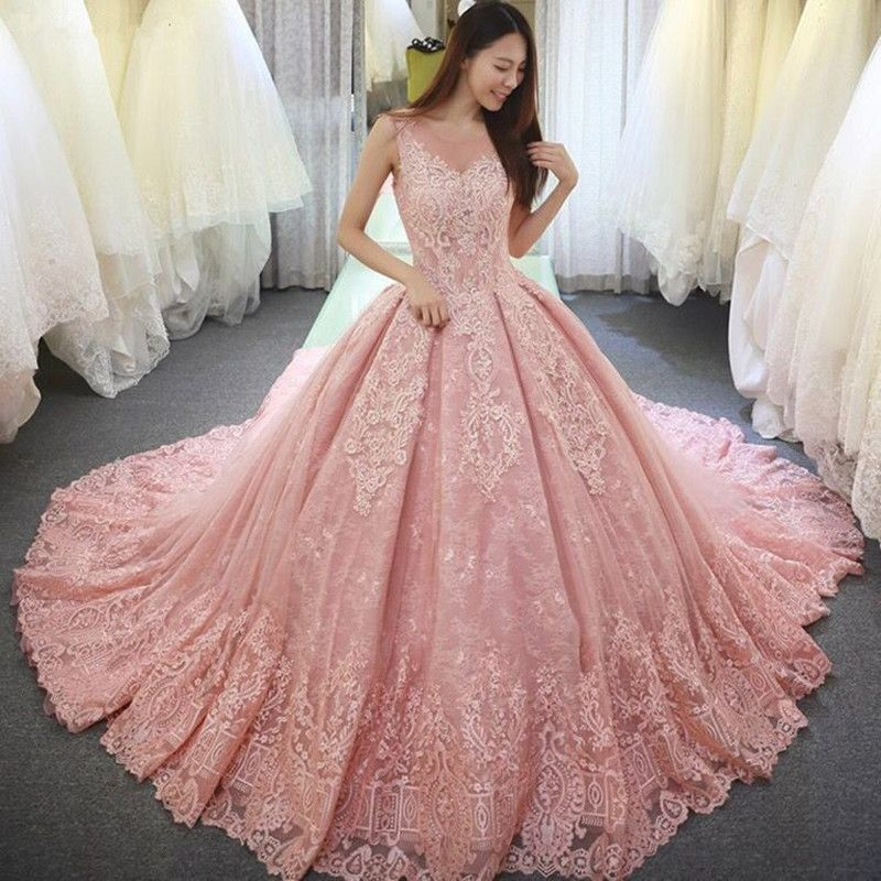 Katristsis d Pink Ball Gown Wedding Dresses vestido de noiva long robe de mariage Custom Made