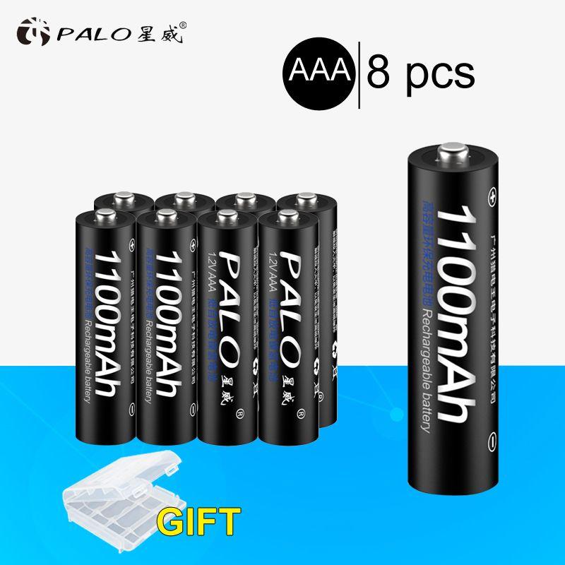 PALO 4 pcs 8 pcs 16 pcs D'origine 3A AAA batterie Rechargeable 1100 mAh 1.2 V AAA NIMH Rechargeable batteries bateria bateris 3A pâte