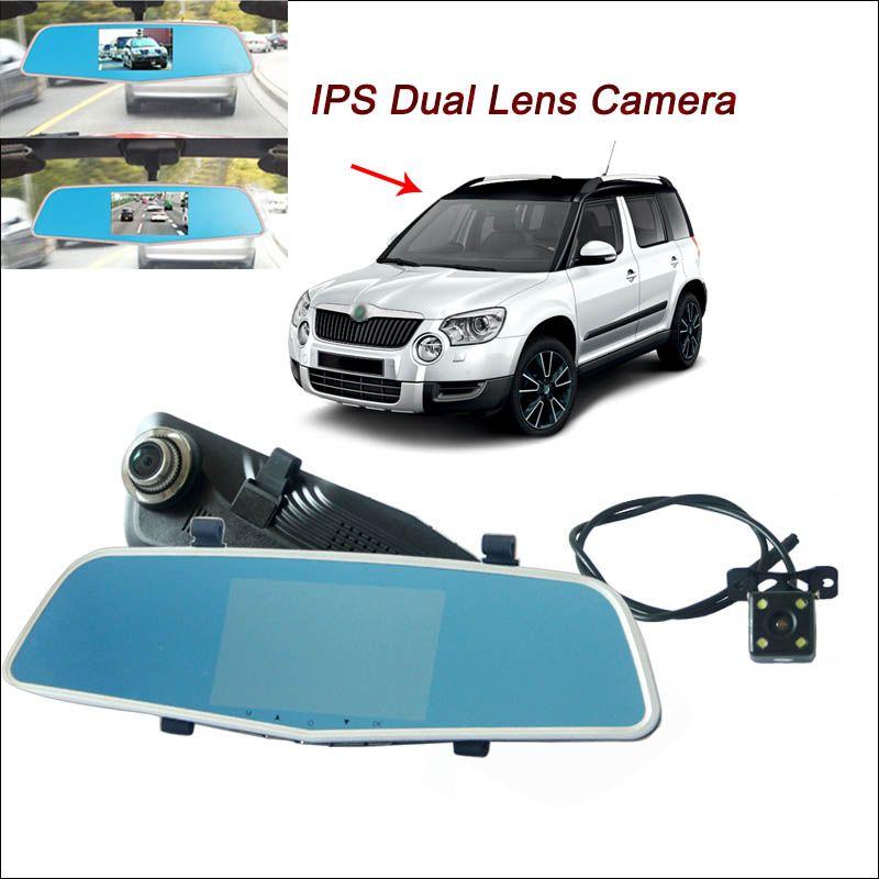 BigBigRoad For skoda yeti Car Rearview Mirror DVR Driving Video Recorder Dual lens 5 inch IPS Screen dash camera parking monitor