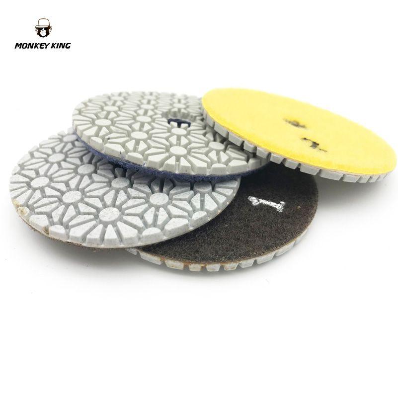 Tampons de polissage diamant humide/sec disques abrasifs outil de roue 3 pouces 3 étapes ensemble quartz granit marbre pierre béton