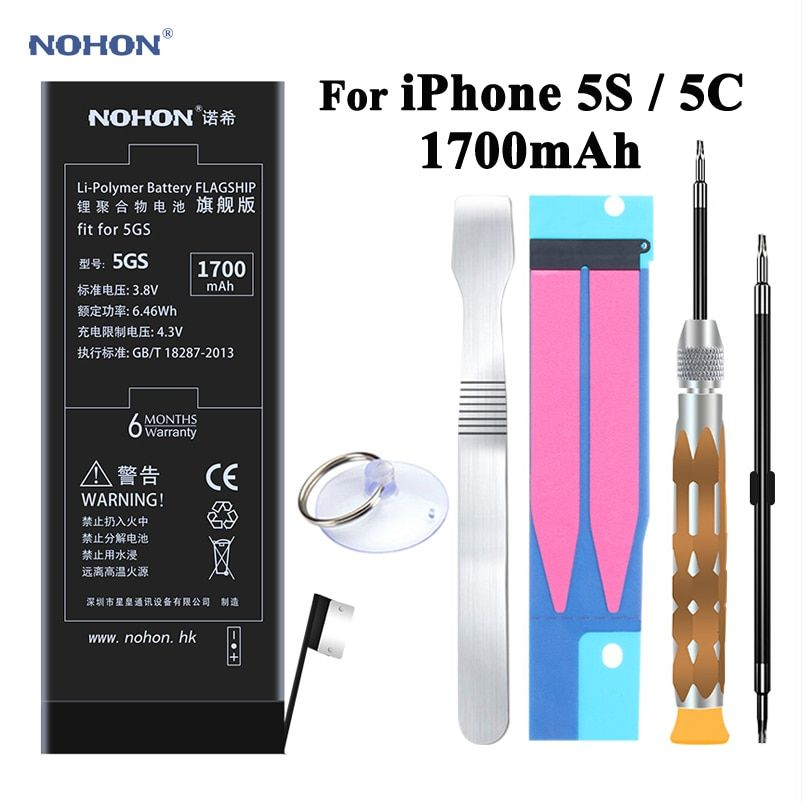 NOHON Rechargeable Battery for Apple iPhone 5C 5S High Capacity 3.8V 1700 mAh Li-polymer Li-ion Battery WITH Tools and  Adhesive