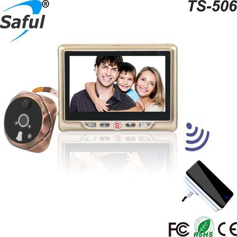 Saful 4.3TFT-LCD Peephole Camera door viewer Multi-languages Recordable Door Camera with one wireless doorbell Free shipping