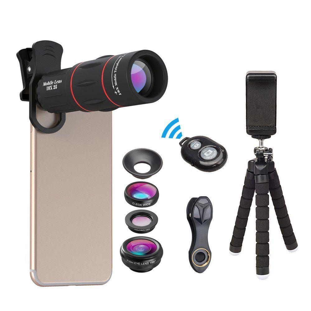 APEXEL Téléphone Lentille Kit Fisheye Grand Angle macro 18X télescope téléobjectif pour iphone xiaomi samsung galaxy android téléphones