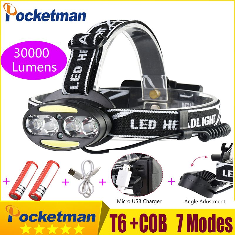 Headlight 30000 Lumen headlamp 4* XM-L T6 +2*cob+2*Red LED Head Lamp Flashlight Torch Lanterna with batteries charger z91