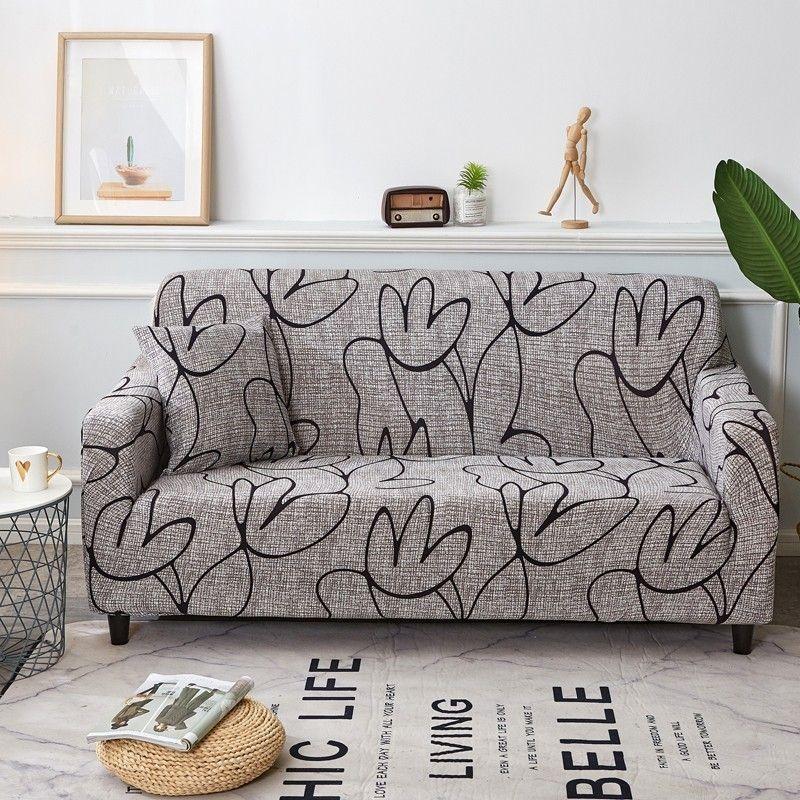 Élégant moderne housse de canapé Spandex élastique Polyester Floral 1/2/3/4 places canapé housse chaise salon meubles protecteur