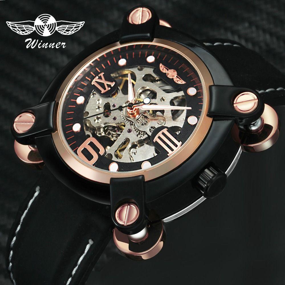 WINNER Adventure Men Automatic Mechanical Louvre Series Alien Design Skeleton Dial Leather Strap T-WINNER Male Wristwatch