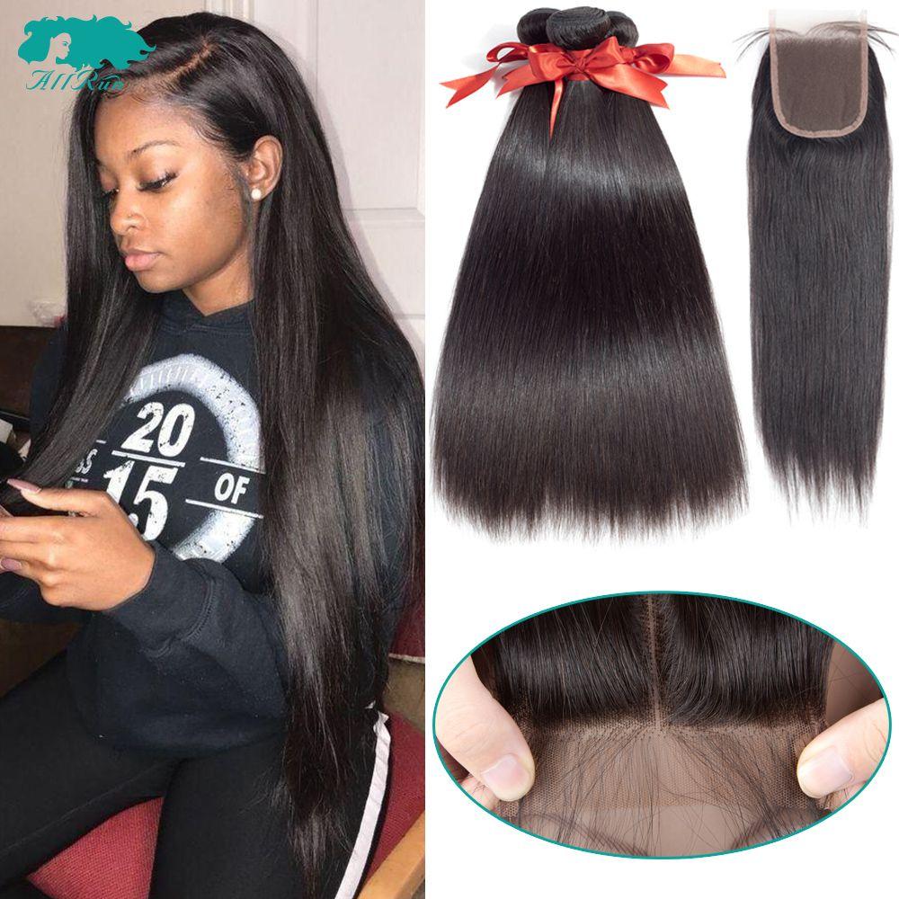 Paquets de cheveux droits brésiliens avec fermeture 2/3 paquets 100% paquets d'armure de cheveux humains avec fermeture Extensions de cheveux brésiliens