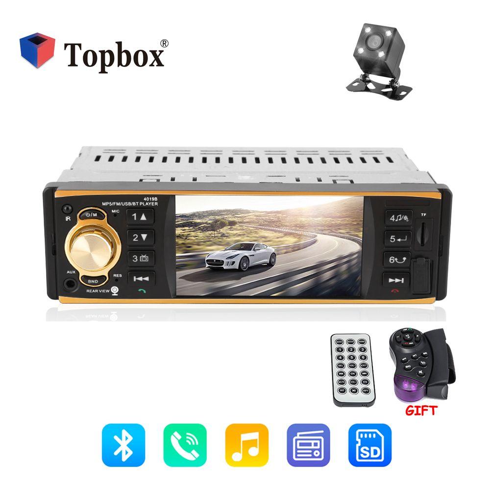 Topbox 12V Autoradio 4019B 1 Din Car Radio Audio Stereo FM Radio Station Bluetooth MP3 Player Rear View Camera Remote Control