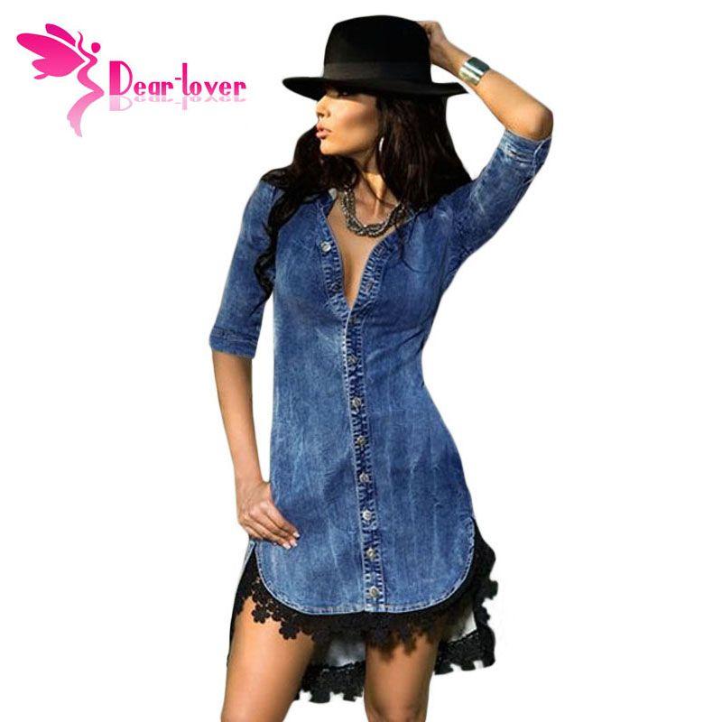 Dear-Lover Elegant Womens Jeans Street Style Lace Trim Button Down Half Sleeve Denim Shirt Dress vestidos vetement femme LC22439