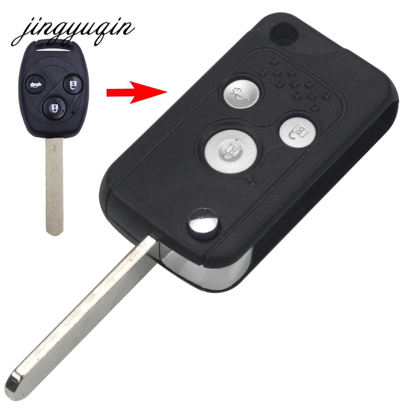 Jingyuqin 3 Кнопка изменения Флип Дистанционное Оболочки подходит для ЗАМЕНИТЬ HONDA Accord Fit Civic CRV Pilot fob складной чехол Замена