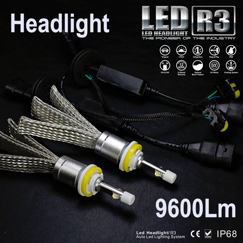 R3 9600lm Car LED Headlight Kit H1 H3 H4 H7 H9 H11 H13 9005 HB3 9006 HB4 Automobiles Headlamp Fog Lamps White