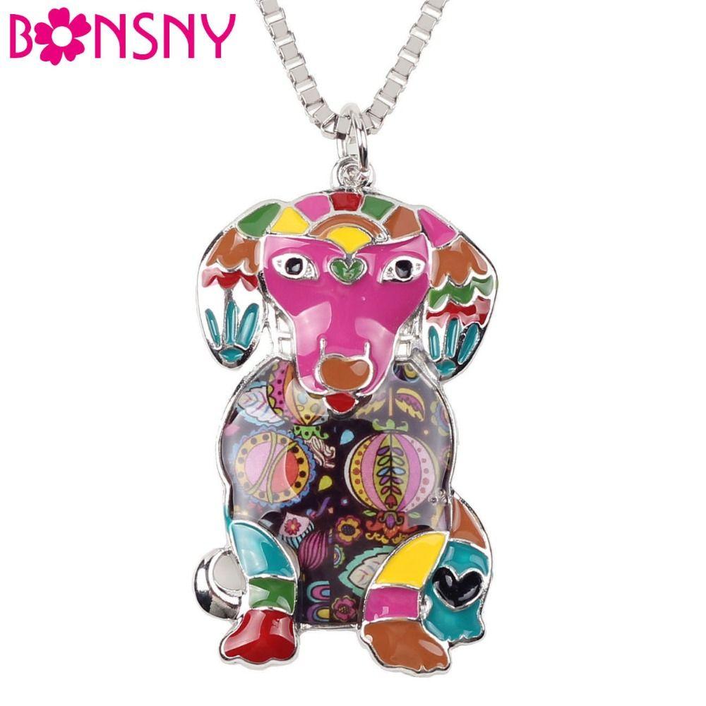 Bonsny Maxi de Metal Declaración Collar de Gargantilla Collar de Cadena Colgante de Esmalte de la Aleación Del Perro Labrador 2016 La Moda de Nueva Esmalte de La Joyería de Las Mujeres