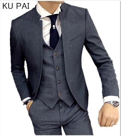 2017 nouvelle robe de mariée coréenne col montant costume veste hommes auto-culture affaires décontracté bonne qualité costumes homme veste