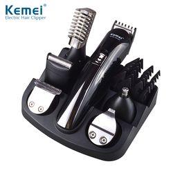 Kemei 6 en 1 Rechargeable Tondeuse Titane Cheveux Clipper Rasoir Électrique Barbe Tondeuse Hommes Styling Outils Rasage Machine 600