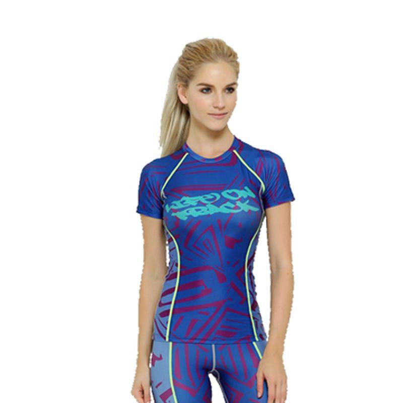 Женские летние стиль сжатия плотно футболку с коротким рукавом удобная quick dry clothing для девочек фитнес-тренировки одежда