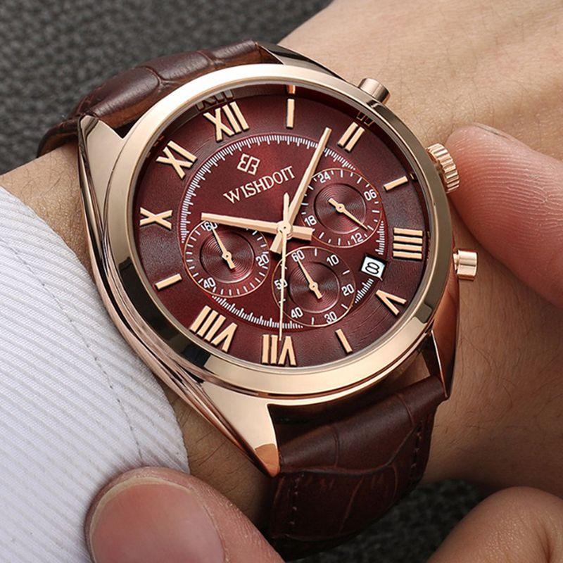 Mens Business Waterproof Quartz Watch Top Brand WISHDOIT Leather Men Sports Watches Fashion Casual Military Rose Gold Male Clock