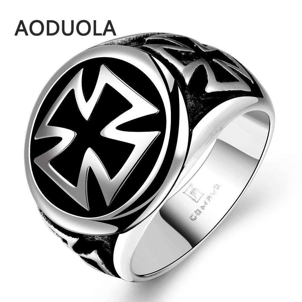 Acero inoxidable alemán hierro Cruz anillo punky antiguos grandes del motorista retro de la vendimia de los hombres negros Anillos para roca de los hombres del sello joyería para hombre