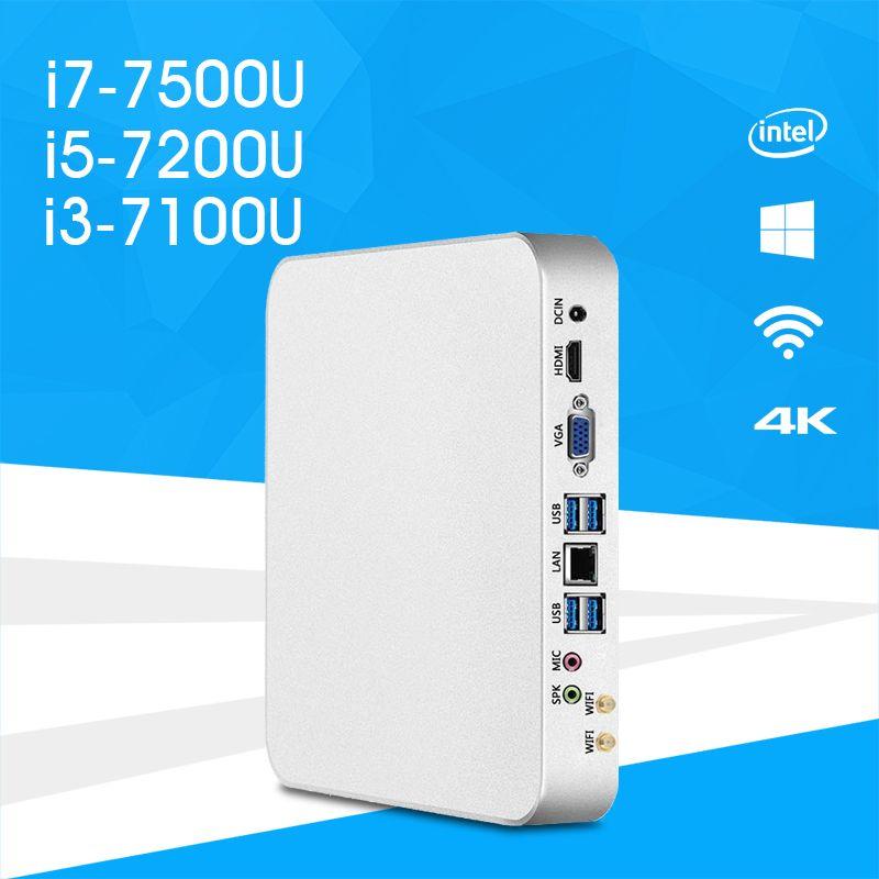 Mini PC i7-7500u i5-7200u i3-7100u Ventanas 10 y 8.1 HD gráficos 620 4 K UHD HDMI VGA dual pantalla 6X USB wifi htpc Gaming PC